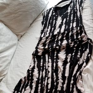 Black & White Tie Dye Shirred Maxi Dress